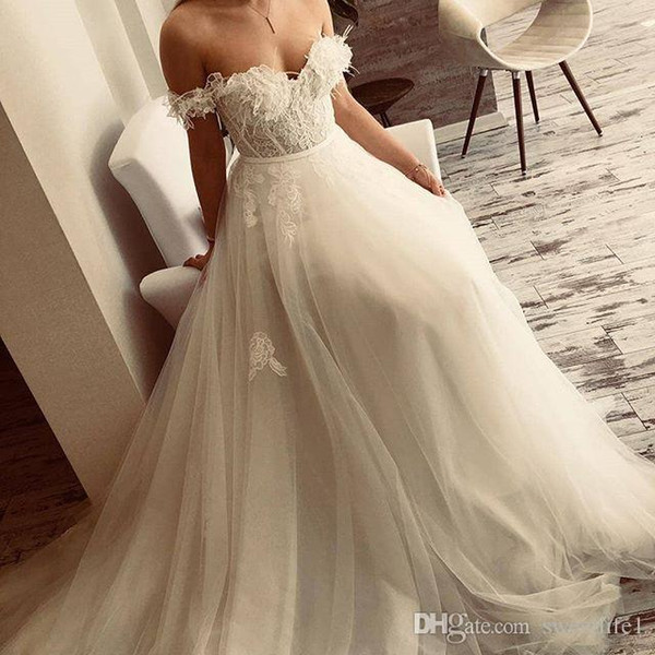 2018 Boho Sweetheart Lace Wedding Dresses Feather Applique Off The Shoulder A Line Tulle Floor Length Chic Rustic Bridal Gown Custom Made