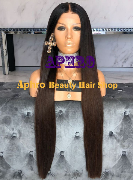 Luxy European Human Hair Ombre Brown Long 5x5Inch Silk Top Full Lace Wigs With Dark Roots Silky Straight Glueless Full Lace Ombre Brown Wigs