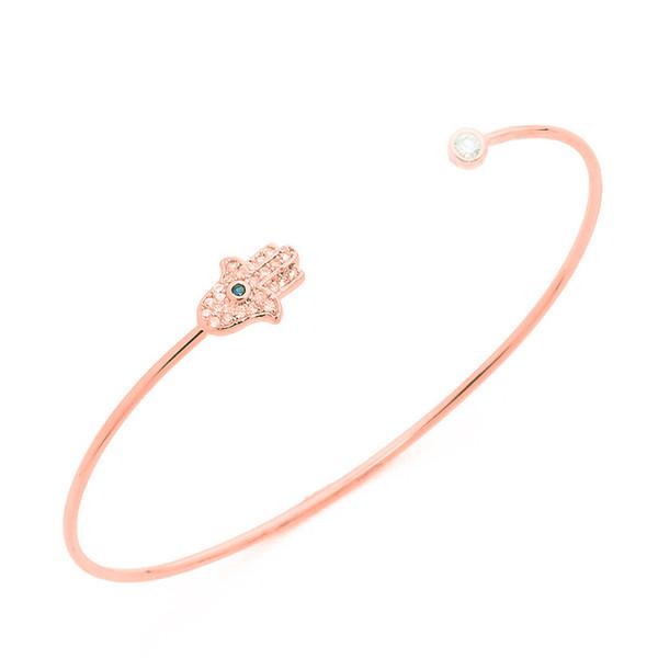 Fatima Hamsa Main Charmes Amour Bracelet Réglable Manchette Extensible Manchette Bracelets Pour Les Femmes Placage Alliage Cristal Charme Bracelet Fit Cadeaux De Vacances