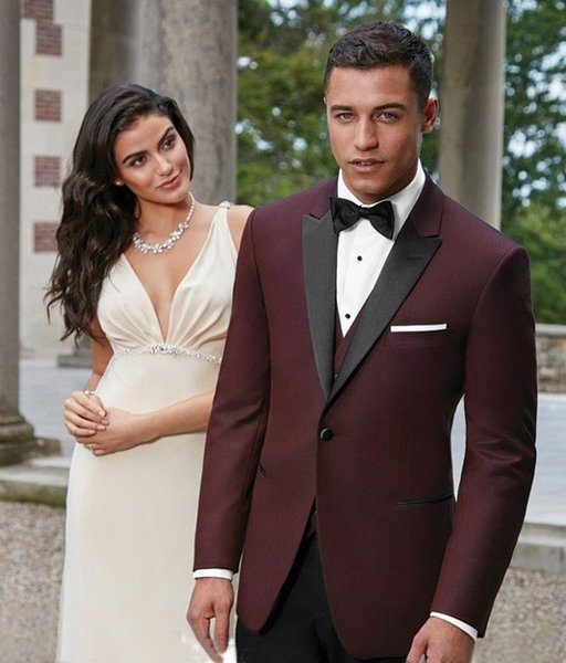 Burgundy Mens Suits Slim Fit Groomsmen Wedding Tuxedos Three Pieces Groom Suit Peaked Lapel Business Blazers With Jacket Vest And Pants