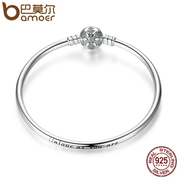 BAMOER Authentic 925 Sterling Silver Engrave Snowflake Clasp Unique as you are Snake Chain Bracelet & Bangle DIY Jewelry PAS915 S915