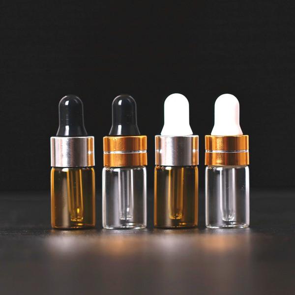 50 adet / grup 1 ml, 2 ml, 3 ml, 5 ml Boş Cam Uçucu Yağlar Damlalık Şişeler Doldurulabilir Mini Amber Serum Şişeleri Ile Piette