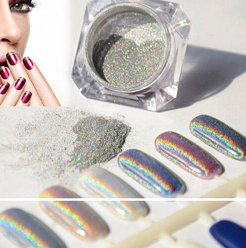 best selling NEW ARRIVAL Wholesale-1g Laser Silver Holographic Nails Glitters DIY Nail Art Sequins Chrome Pigment Dust Shiny Magic Laser Mirror