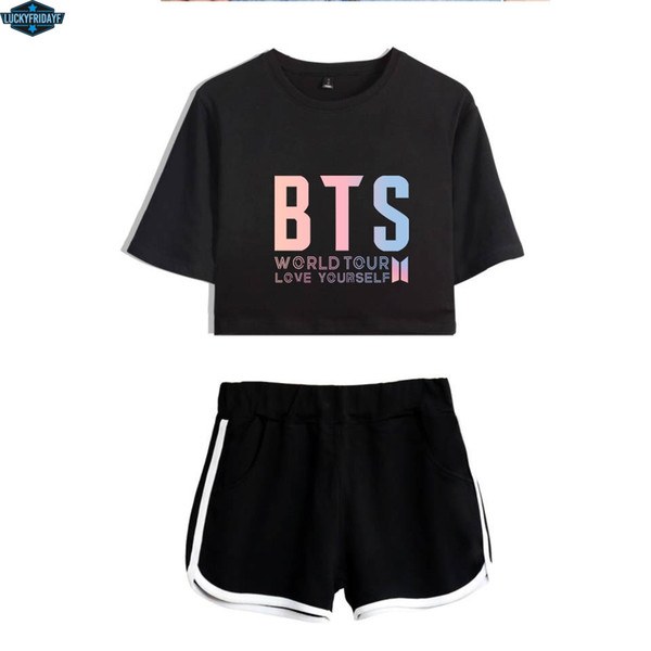 2018 BTS Two Piece Set Summer Sexy Cotton Printed T shirt Album Woman Suit Shorts Crop BTS Fashion Tops+Shorts Pants New