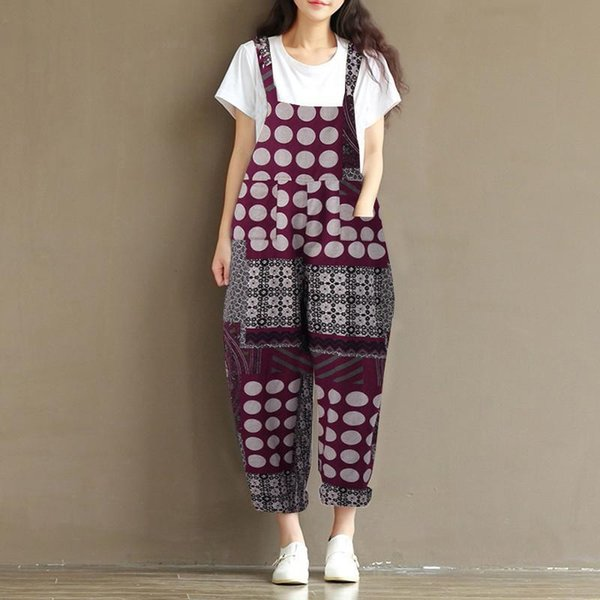 ZANZEA 2018 Summer Women Casual Boho Printed Baggy Party Long Jumpsuit Vintage Cotton Linen Loose Strap Romoers Wide Leg Pants
