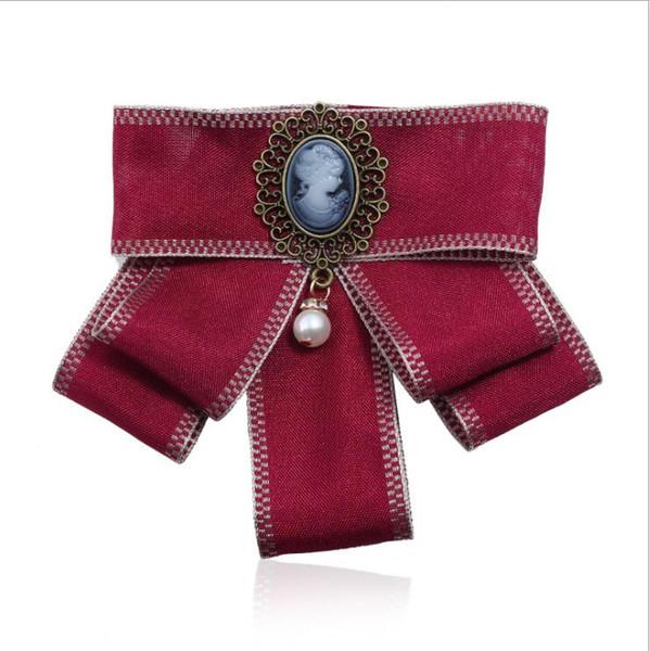 Royal Baroque Cameo Bowknot Donna Spille Fatti a mano Nastro Bow Tie Spilla Corpetto Dress Camicie Gioielli