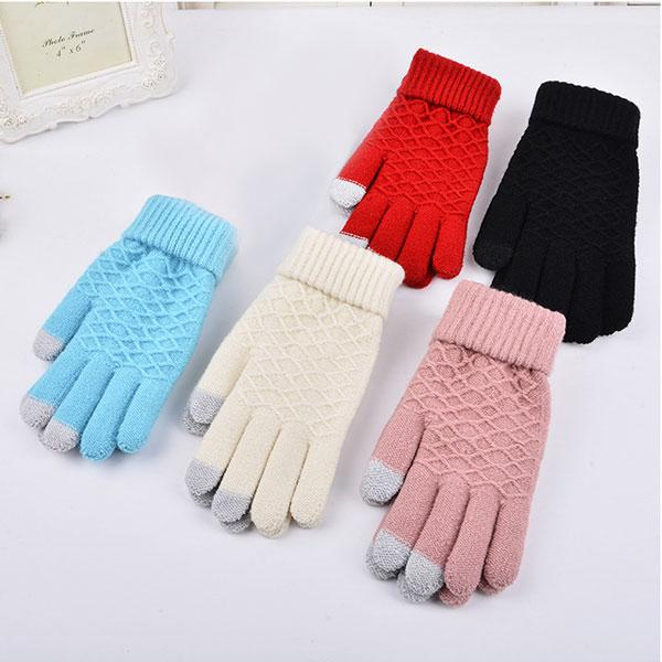 Hot Fashion Winter Warm Vogue Solid Knitted Full Finger Gloves Mittens For Smart Phone Happybuy