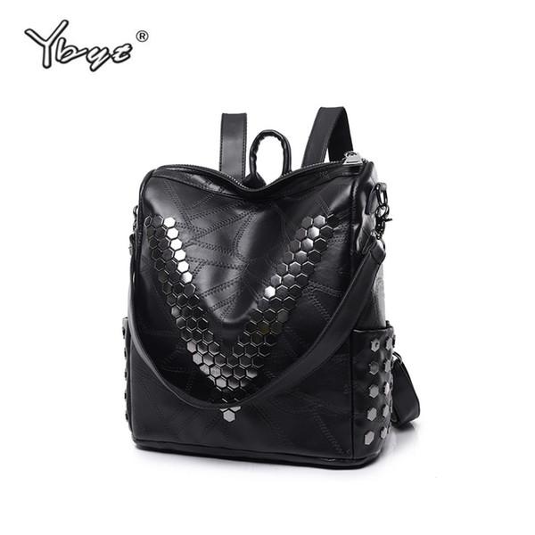 YBYT marca 2018 nuevo cuero de LA PU hilo de remache mujeres paquete de alta calidad bolsa mochila casual diseñador bolsa de viaje de las señoras mochila