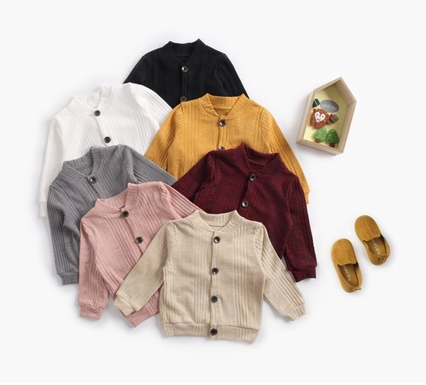 Baby Kids Solid Color Cardigans Sweater Fall 2018 Children Wear 1-6T Little Boys Girls Clothing Long Sleeves Buttons Up Cardigans All-Match