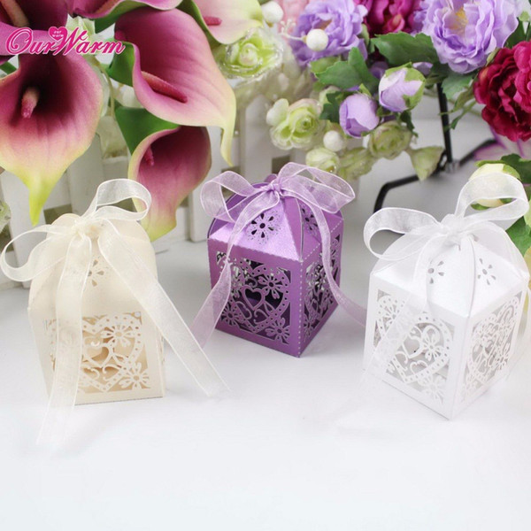 50Pcs/lot Wedding Gift Bags High Quality Candy Box Heart Laser Cut Paper Party Favors and Gifts Bag for Wedding Decoration