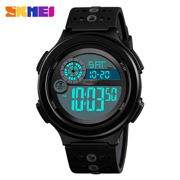 Brand SKMEI 1374 Men's Watches LED Digital Watch Men Black PU Strap Wrist Watch Alarm 50m Waterproof Men Sport Watches Military Masculino