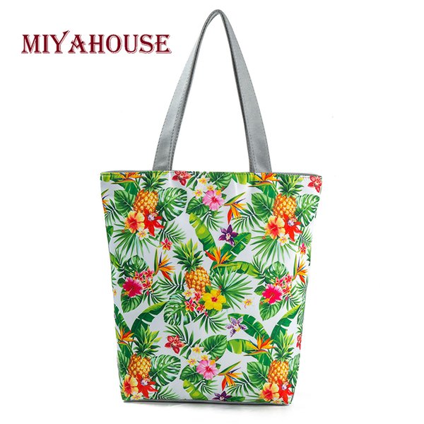 Miyahouse Unique Design Female Beach Bags Pineapple Printed Canvas Tote Women Single Shopping Handbags High Capacity Floral Tote