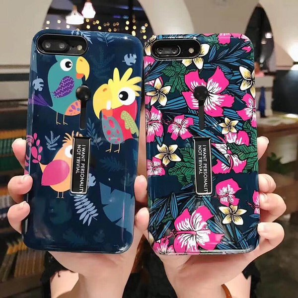 Hot Sale Flower Pattern TPU Soft Cover with Holder Back Phone Case Protector For iPhone X 6/6S/7/ 7 8 Plus