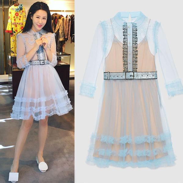 New design women's peter pan collar cute long sleeve paillette beading sashes gauze high waist ball gown dress vestidos S M L