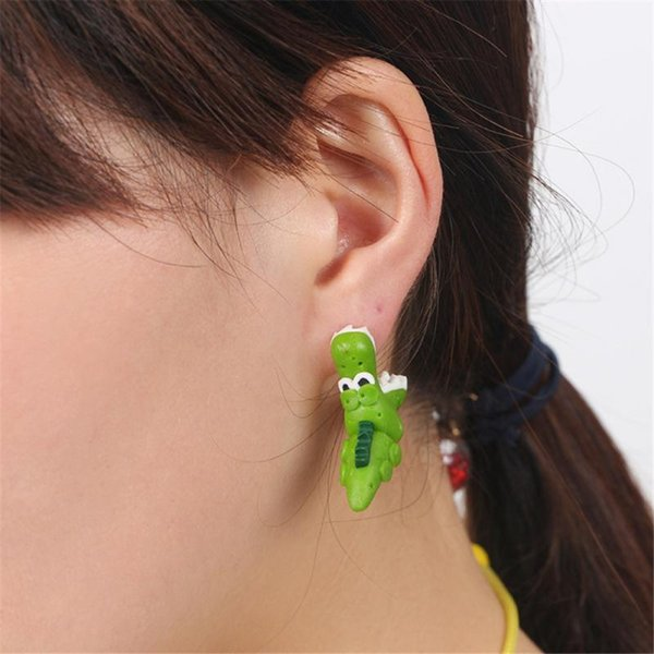 Drôle femme fille Crocodiles argile polymère oreille Stud mignonne animal fait main boucle d'oreille