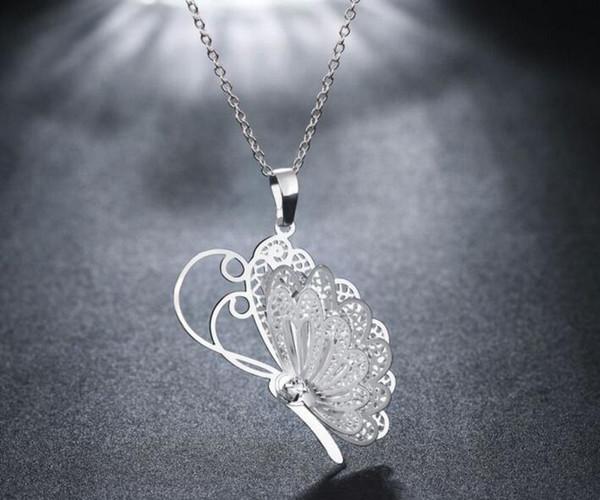 Moda 3 Katmanlı 3D Kristal Rhinestone Gümüş Kaplama Kelebek Kanat Kolye Uzun Zincir Kazak Kolye Yaka 925 Takı