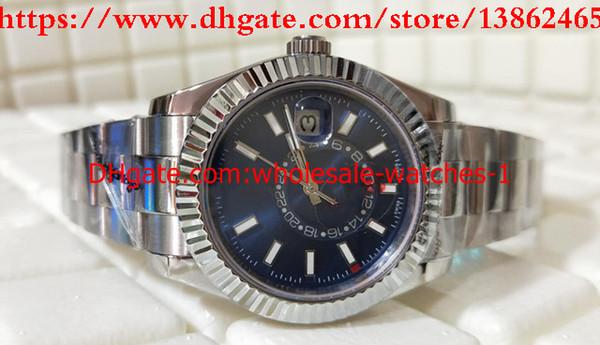 Toptan Satış - Lüks Yeni stil Mavi 42mm SKY-DWELLER 326934 326934-0003 Paslanmaz Çelik Otomatik Mekanik Mens Watch Saatler orijinal Kutusu