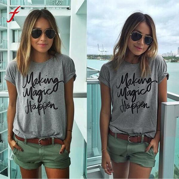 Women Girls Cotton Blouse Short Sleeve Shirt Summer Blouse Tops Letter Pattern Gray Shirts Women Body Blouses Clothes For Women