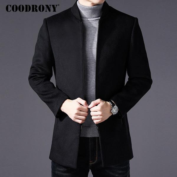 Großhandel COODRONY Männer Mantel Winter Dicke Warme Wollmantel Männer Kleidung 2018 Slim Fit Mandarin Kragen Jacke Herren Mantel Herren Mäntel C03