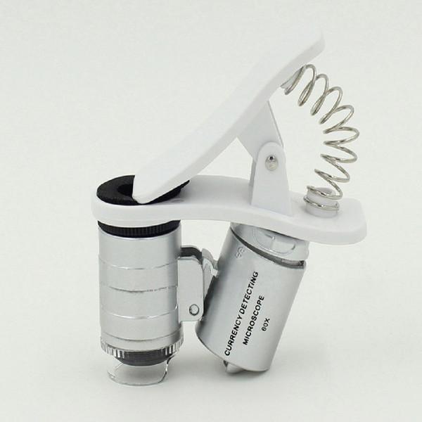 Etmakit 1 Adet Evrensel 3 LEDs Klip Cep Telefonu Mikroskop Büyüteç Mikro Lens 60X Optik Zoom Teleskop Kamera Lens