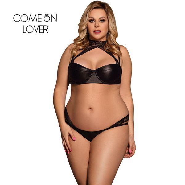Comeonlover Micro Bikini Sexy High Neck Spitze Bralette Bikini Sexy Hot Erotic Sexy BLACK Plus Größe Leder Dessous Set RI80433 S18101509