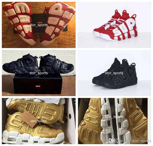 2018 New Sup Air More Uptempo Mens Women Basketball Shoes High Quality Big Pippen Athletic Sport 902290-700 US 5.5-13