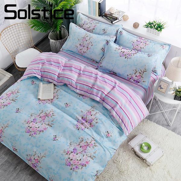 Sonnenwende Heimtextilien lila Blume blau Bettdecke Bettbezug Kissenbezug Streifen flaches Blatt Frau Erwachsener Teen Mädchen Bettwäsche Leinen Set