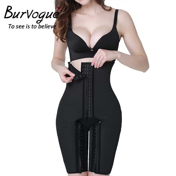 Burvogue Donna Latex Vita alta Disossato in acciaio Shapewear Butt Lift Body Shaper Plus Size Pantaloni Gancio Tummy Controllo Mutandine Shaper