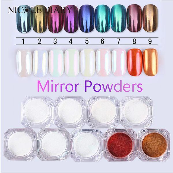 9 colores opcionales polvo de espejo oro azul multicolor manicura artilugio brillo pigmento cromo