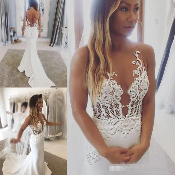 2019 new illu ion bodice mermaid wedding dre e heer neck lace appliqued weep train atin backle wedding gown