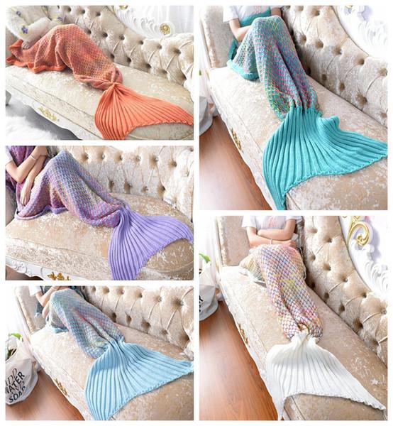 5 cores da sereia Blanket cauda Adulto Sofá Acrílico Fibras Knitting Multi Color da escala de peixes Grade Quilt Rug Cocoon dormir Sack presente MMA614-2