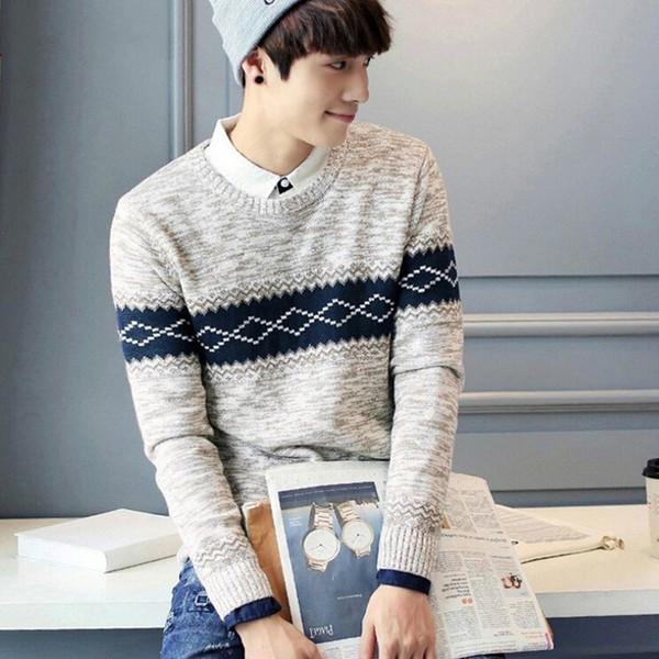 New Winter Casual Wear Men Sweater Fashion Design Strip Men's Pullover Sweaters O Neck Warm Knitwear Men's Sweaters Male