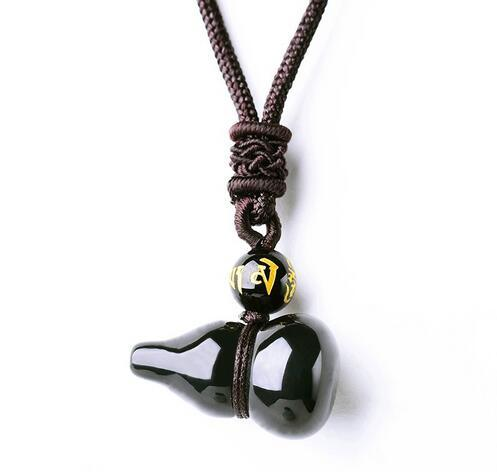 Colorful Natural Black Obsidian Gourd Necklace Pendant Jade Pendant Jade Jewelry Fine Jewelry
