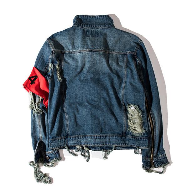 Mens Winter Clothing Kanye West Jeans Jacket Ripped Holes Vintage Denim Coat Letters Print High Street Wear