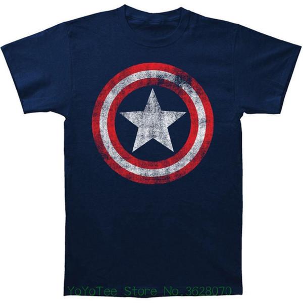 Short Sleeve 100% Cotton Man Tee Tops Captain America Men&#039 ; S Distressed Shield Slim Fit T-shirt Navy