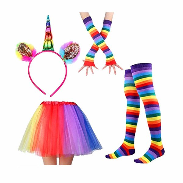 Unicorn Tutu Skirt Dress with Unicorn Horn Headband leggings socks gloves 4pcs/set Children baby Photo Props Party Costumes Outfits C3849