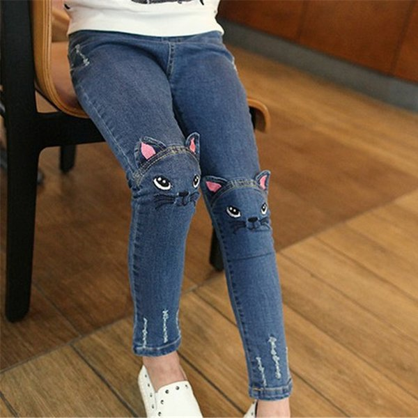 Girls Jeans Cute Cartoon Pattern Kids Jeans Lovely Cat Girl Denim Pants Casual Trousers Children Clothing Girl Clothes