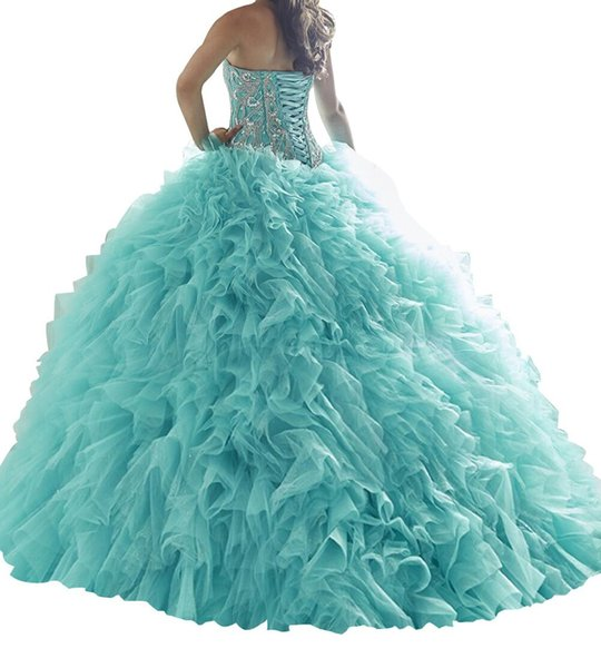 2019 Quinceanera Dresses Heart shaped collar, shiny skirt, shiny skirt, heavy hand, back strap, tail size, customizable cheap postage.