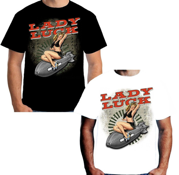 Velocitee Mens Lady Luck T Shirt WW2 Nose Cone 40's Pin Up Rockabilly W15060
