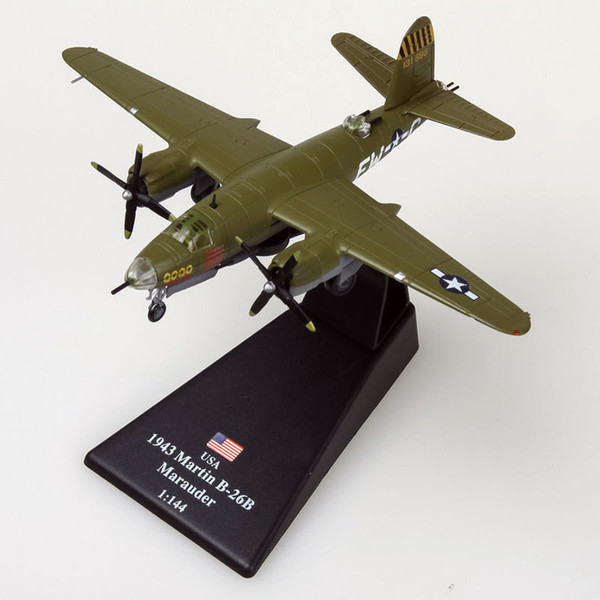 AMER 1/144 Scale Model Toys World War II B-26 Marauder Bomber Fighter Diecast Metal Plane Model Toy For Gift/Collection
