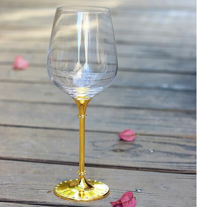 Free shipping top grade crystal 518ml red wine glass cup with imitation gold stem for party celebration OH13153-C