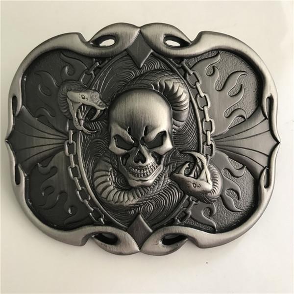 1 Unids Serpiente Cráneo Vaqueros Hebilla de Cinturón Mujer Hombre Jeans Accesorios de Joyería Metal Belt Head Fit 4 cm Cinturones Anchas