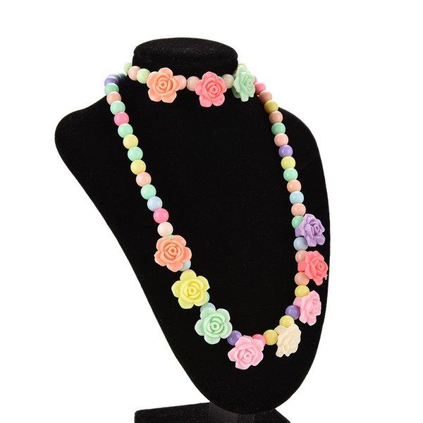 Rose en forme de bonbon collier de perles belle Bubblegum enfants colliers Bracelet bébé fille parti bijoux multicolore livraison gratuite 2018 vente chaude