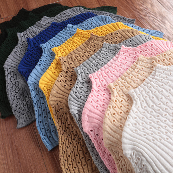 Spring Summer Women Solid Sweaters JECH Big Oversized Cashmere Wool Hollow Short Sleeve Turtleneck Pullovers Slim Jumper Knitted