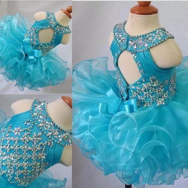 Vestidos del desfile del niño Cupcake de organza azul Niños Prom Vestidos de cuentas de cristal Espalda abierta con arco Formal Niñas Vestido de fiesta de cumpleaños