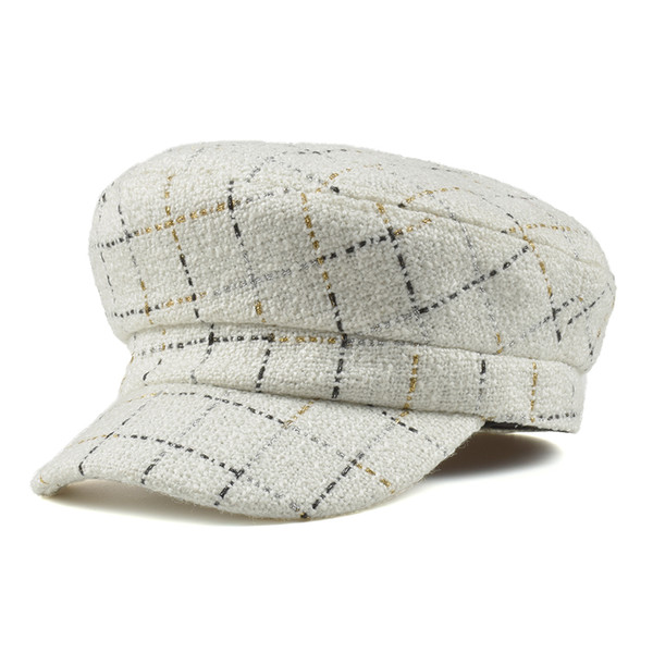 High Quality Black Plaid Wool  Cap Autumn Winter Women Cadet Tactical Flat Top Army Hat  gorras hat