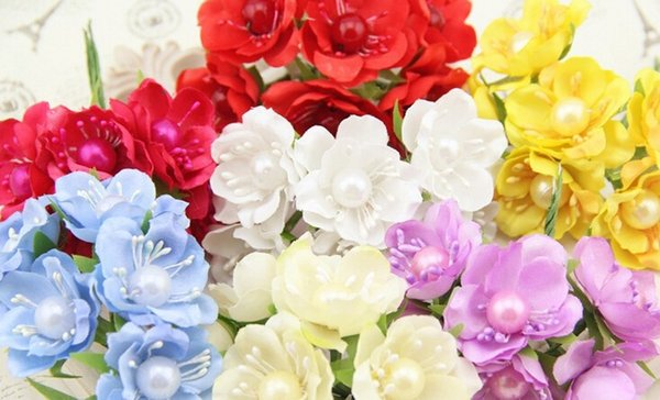 Wholesale-FREE SHIPPING 6pcs Wreath Material Scrapbooking artificial flower Silk Pearl Rose Petals Leaves Table Decoration Party Supplies