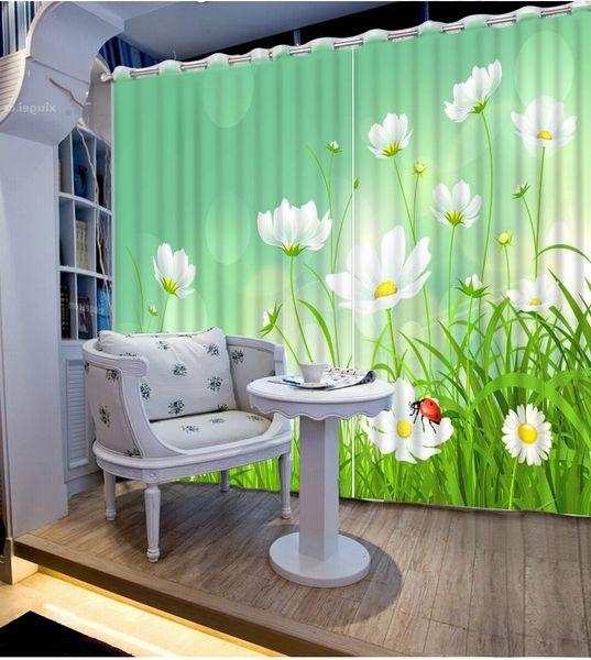 Personalizar 3d cortinas na sala de estar Flores dos desenhos animados 3d cortinas blackout janela da cozinha foto cortina