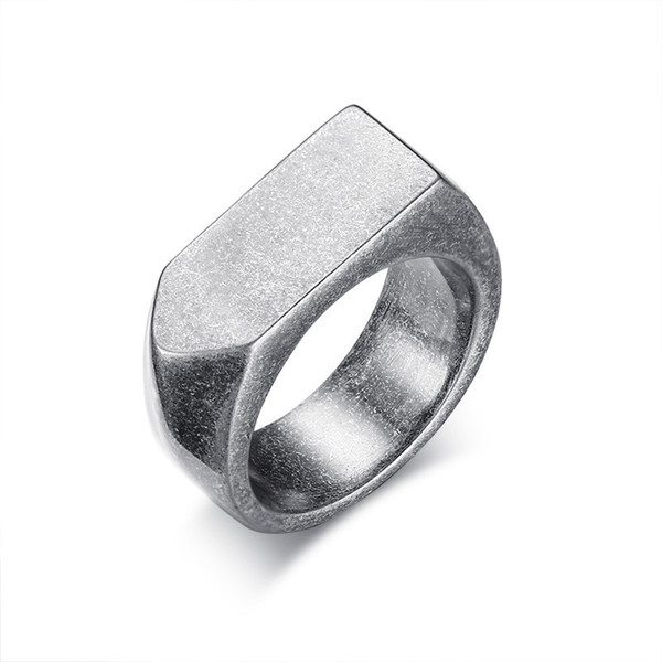 9MM Flat-top Retro Rings for Men Punk Stainless Steel Vintage Silver Male Rings Jewelry 4 Colors US Size 8 to 12