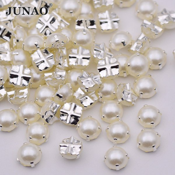 JUNAO 6 7 8 mm Sewing White Pearl Beads Claw Rhinestones Sew On Silver Crystals Appliques Flatback Half Round Scrapbooking Beads